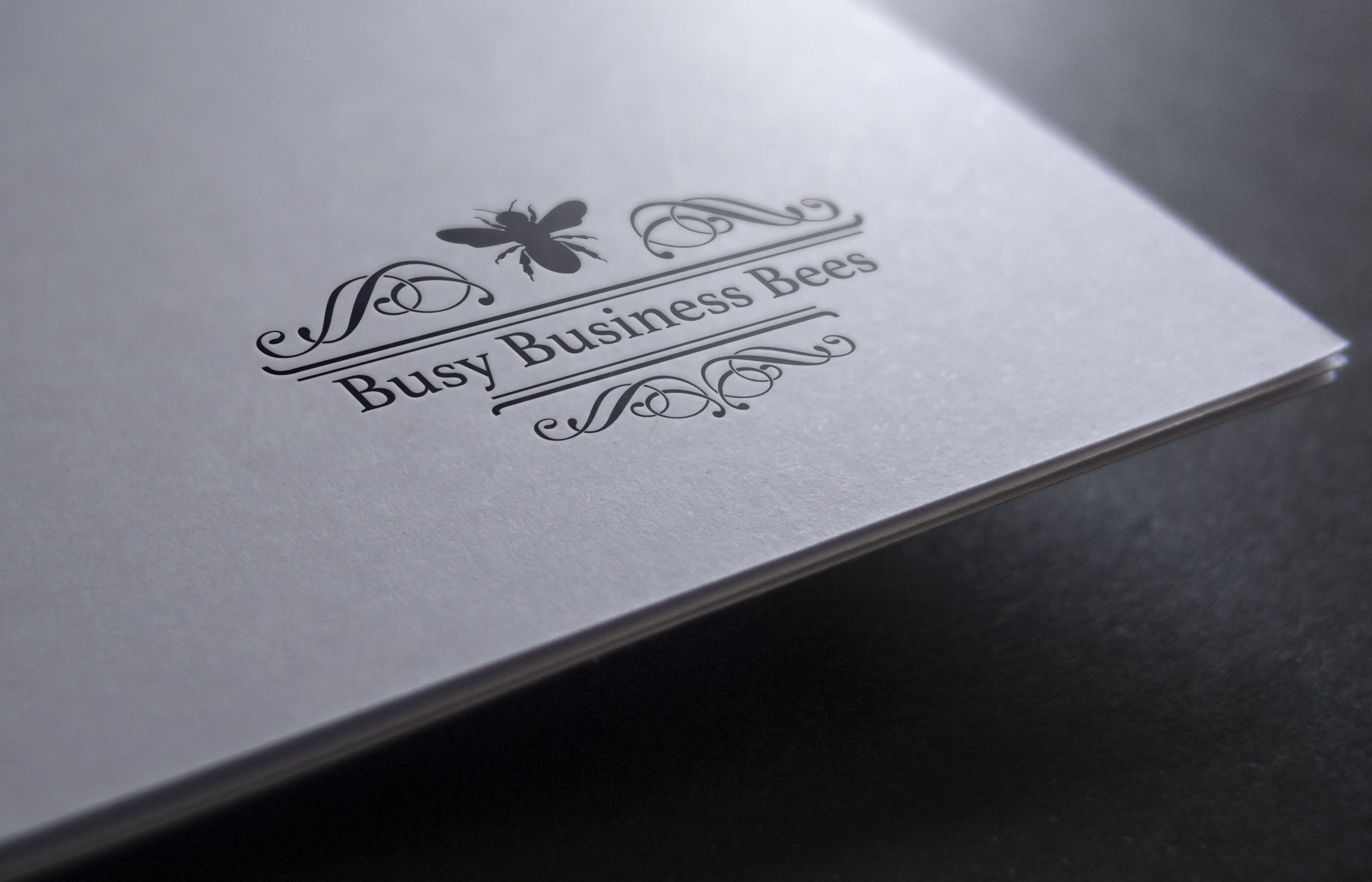 Busy Business Bees Paper Logo Mockup